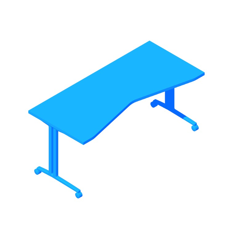 Perspective view of a 3D model of the Everywhere Table Concave Rectangular (C-Leg)