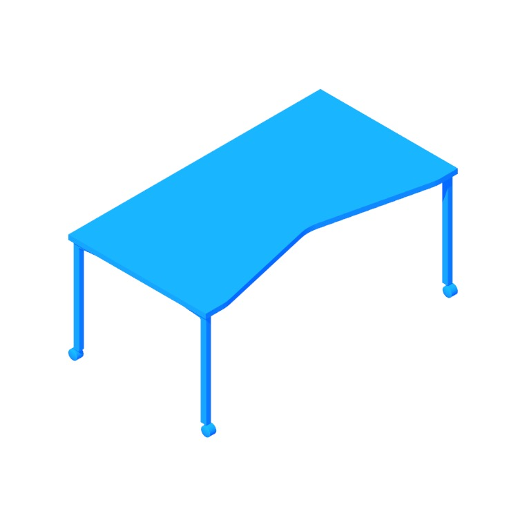 3D model of the Everywhere Table Concave Rectangular (Post Leg) viewed in perspective