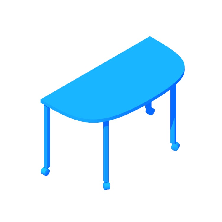 3D model of the Everywhere Table D-Shape viewed in perspective