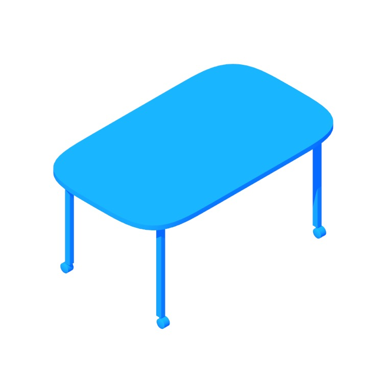 3D model of the Everywhere Table Oval (Post Leg) viewed in perspective