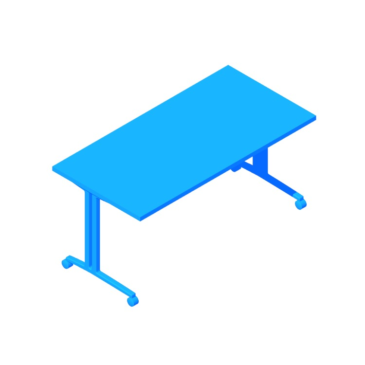Perspective view of a 3D model of the Everywhere Table Rectangular (C-Leg)