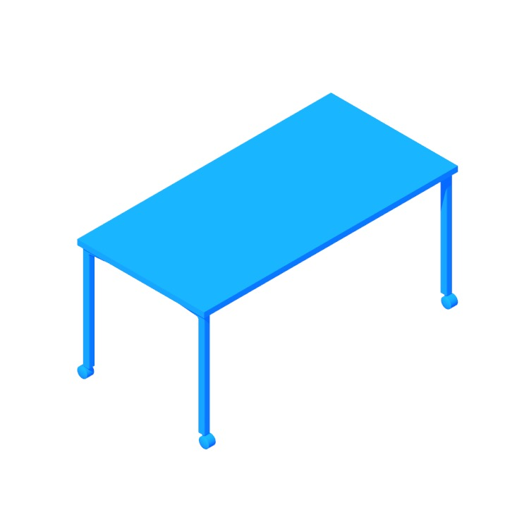 3D model of the Everywhere Table Rectangular (Post Leg) viewed in perspective