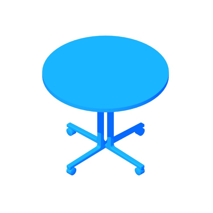 Perspective view of a 3D model of the Everywhere Table Round (4 Column Base)
