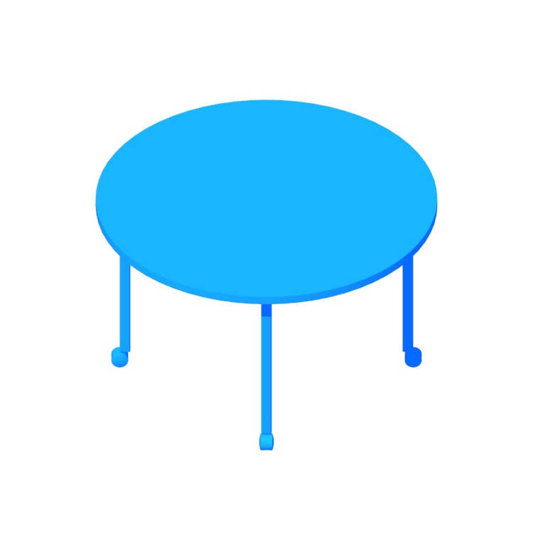 3D model of the Everywhere Table Round (Post Leg) viewed in perspective