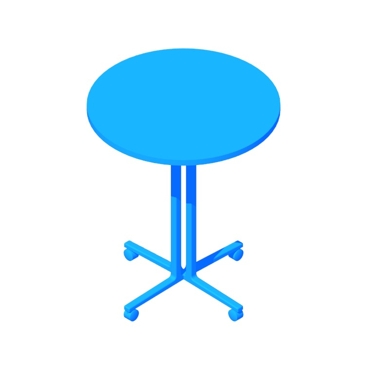 Perspective view of a 3D model of the Everywhere Table Round (Standing Height)