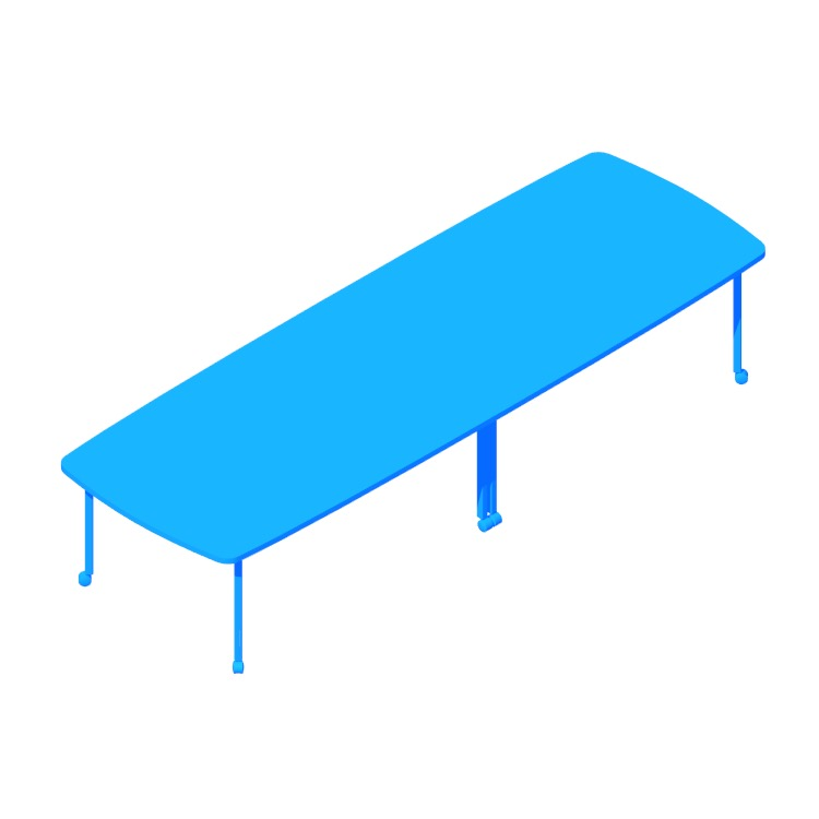 View of the Everywhere Table Soft Rectangular Extended (Post Leg) in 3D available for download