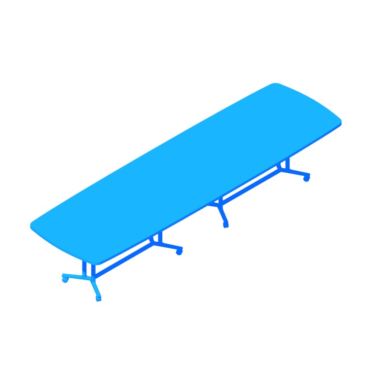 Perspective view of a 3D model of the Everywhere Table Soft Rectangular Extended (Spanner)