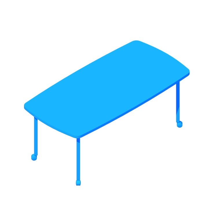 3D model of the Everywhere Table Soft Rectangular (Post Leg) viewed in perspective