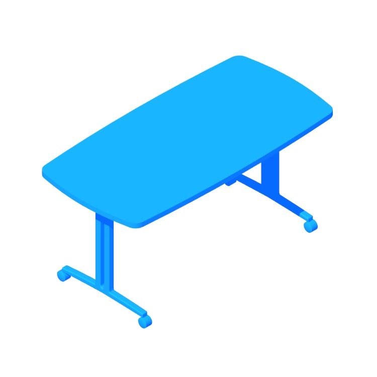 Perspective view of a 3D model of the Everywhere Table Soft Rectangular (T-Leg)