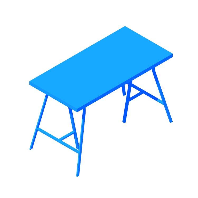 Perspective view of a 3D model of the IKEA Lerberg Trestle Leg Desks