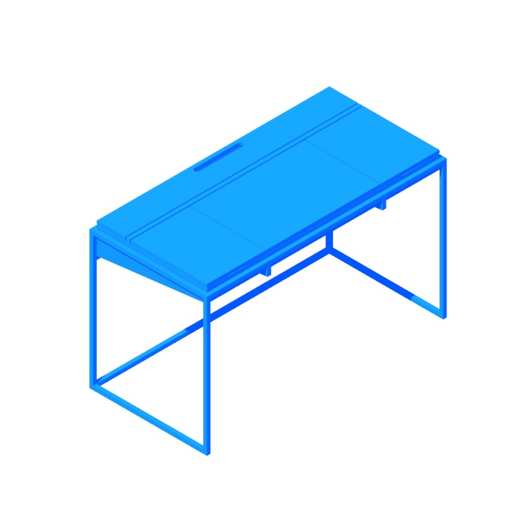 Perspective view of a 3D model of the Oscuro Desk