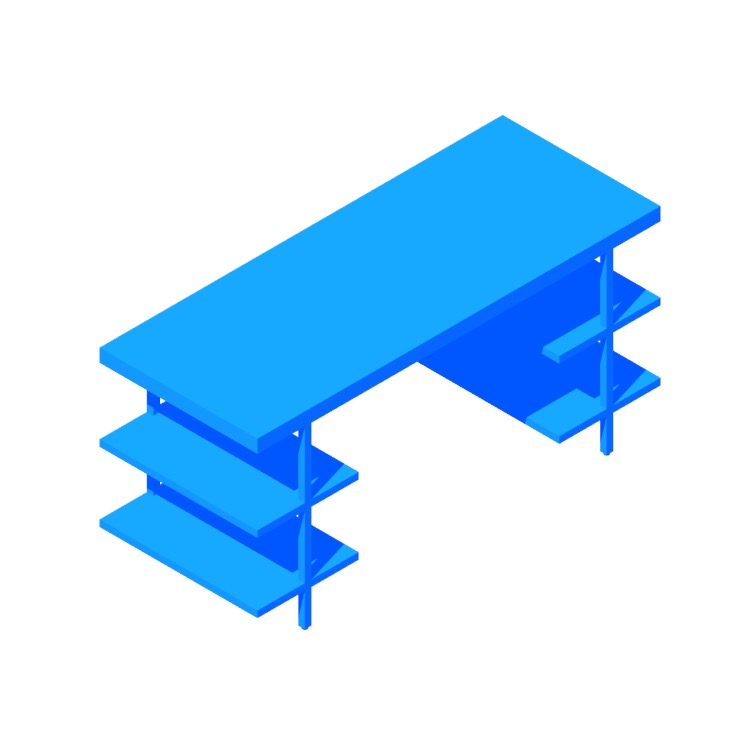 View of the Stairway Modular Desk (Shelves) in 3D available for download