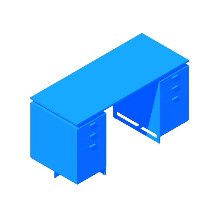 Perspective view of a 3D model of the Fullerton Modular Desk (Drawers)