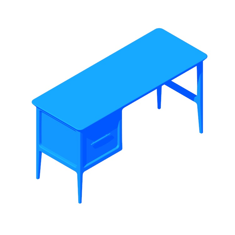 Perspective view of a 3D model of the Kent Desk