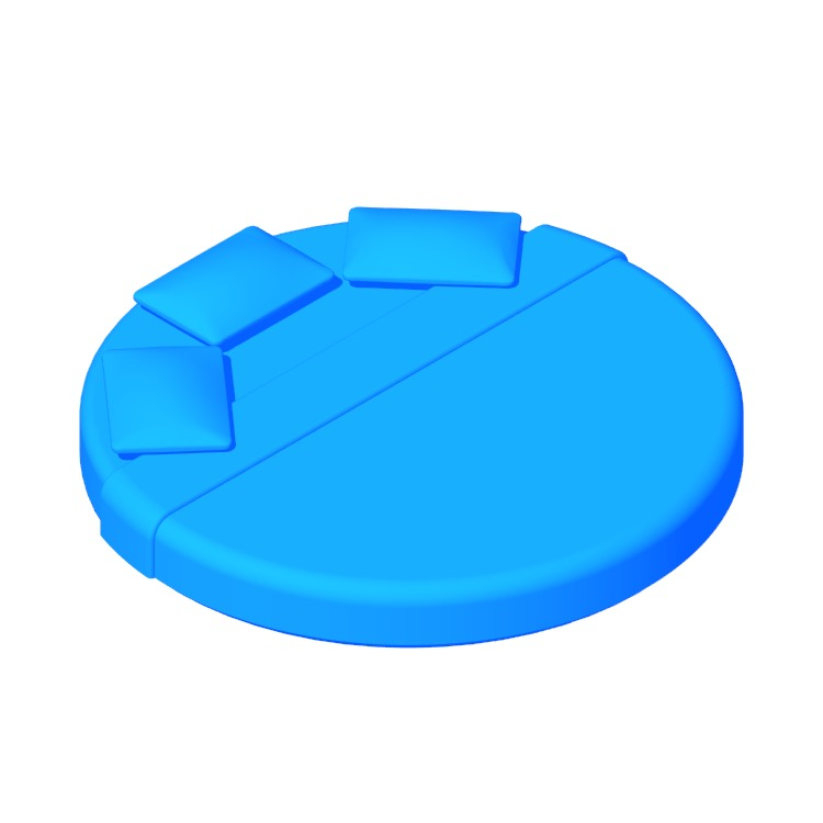 3D model of the Round King Bed viewed in perspective