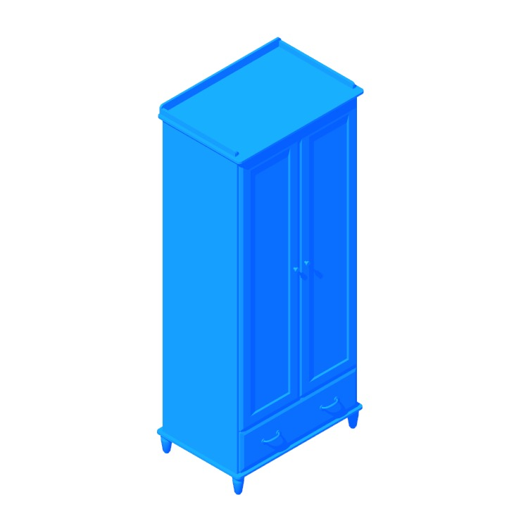 3D model of the IKEA Tyssedal Wardrobe viewed in perspective