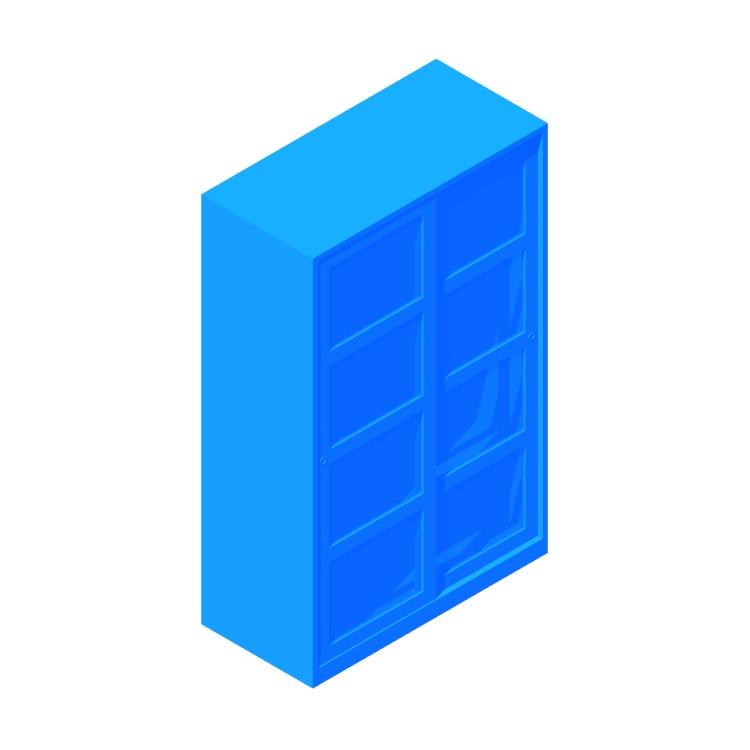 Perspective view of a 3D model of the IKEA Kvikne Two Sliding Door Wardrobe