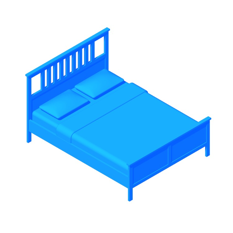 View of the IKEA Hemnes Bed Frame in 3D available for download