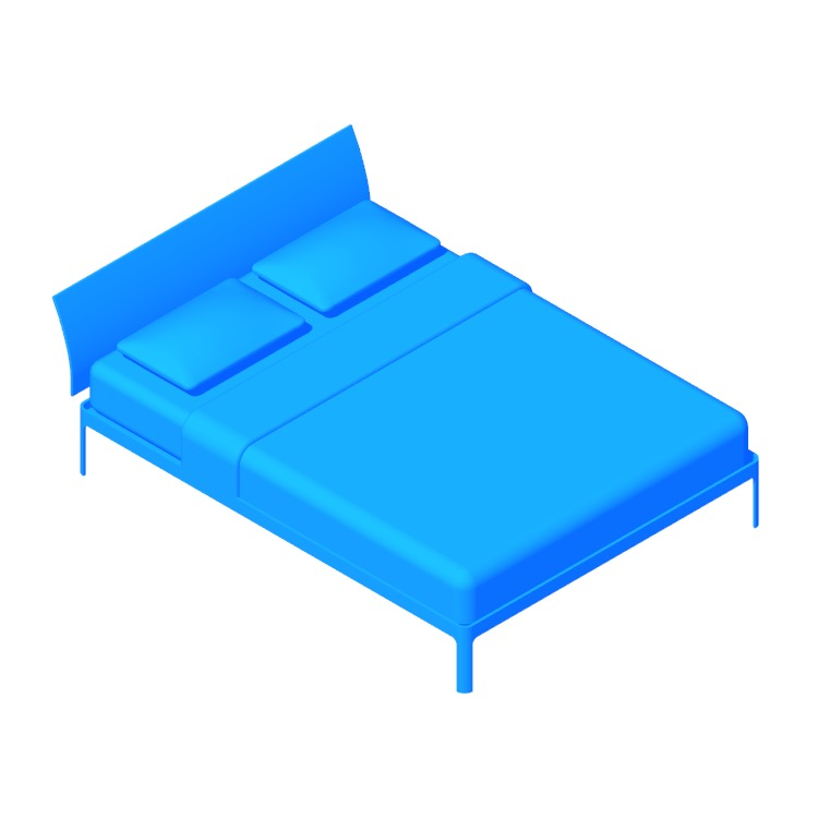 3D model of the Min Bed with Headboard viewed in perspective
