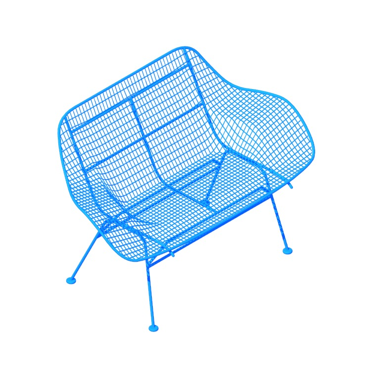 Perspective view of a 3D model of the Sculptura Bench