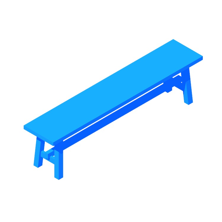 Perspective view of a 3D model of the IKEA Möckelby Bench