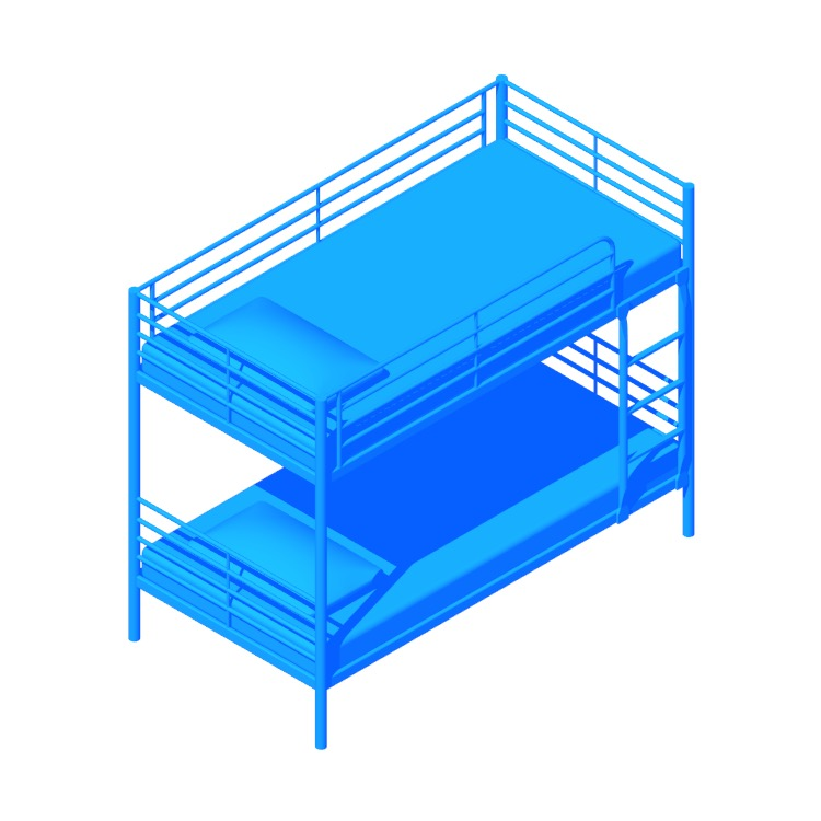 3D model of the IKEA Svarta Bunk Bed viewed in perspective
