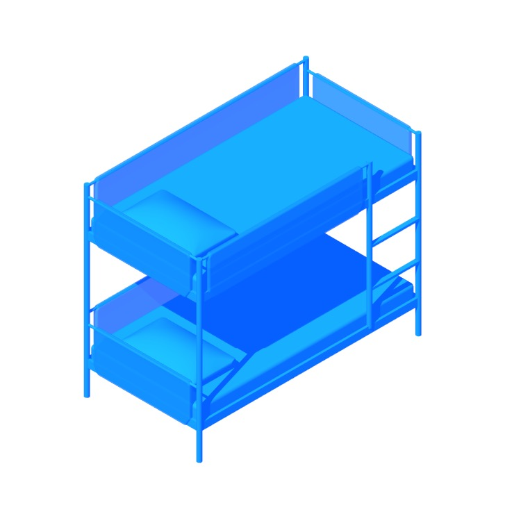 Perspective view of a 3D model of the IKEA Vitval Bunk Bed