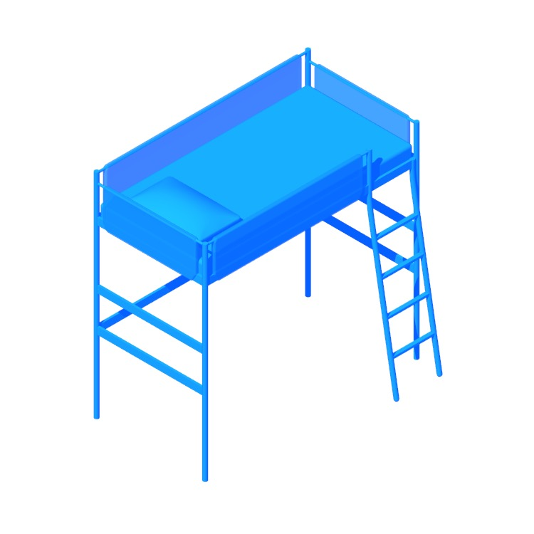 3D model of the IKEA Vitval Loft Bed viewed in perspective