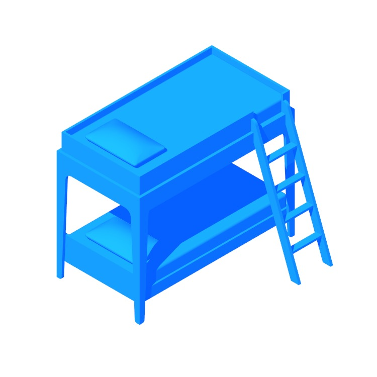 Perspective view of a 3D model of the Perch Bunk Bed