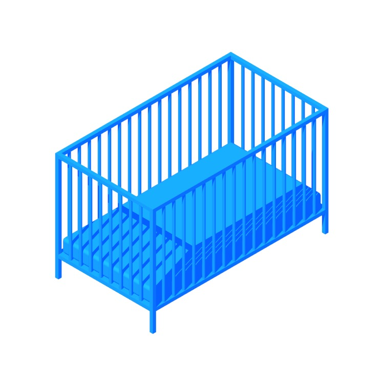 3D model of the IKEA Sniglar Crib viewed in perspective