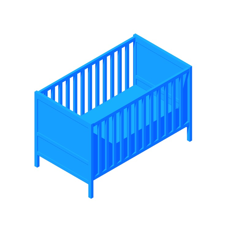 Perspective view of a 3D model of the IKEA Sundvik Crib