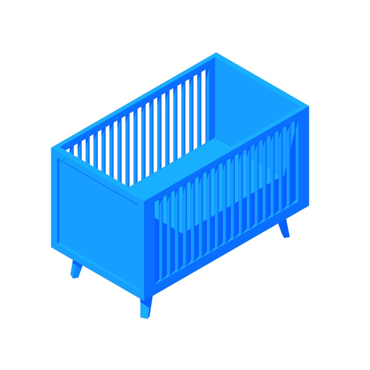 Perspective view of a 3D model of the Torrey Retro Crib