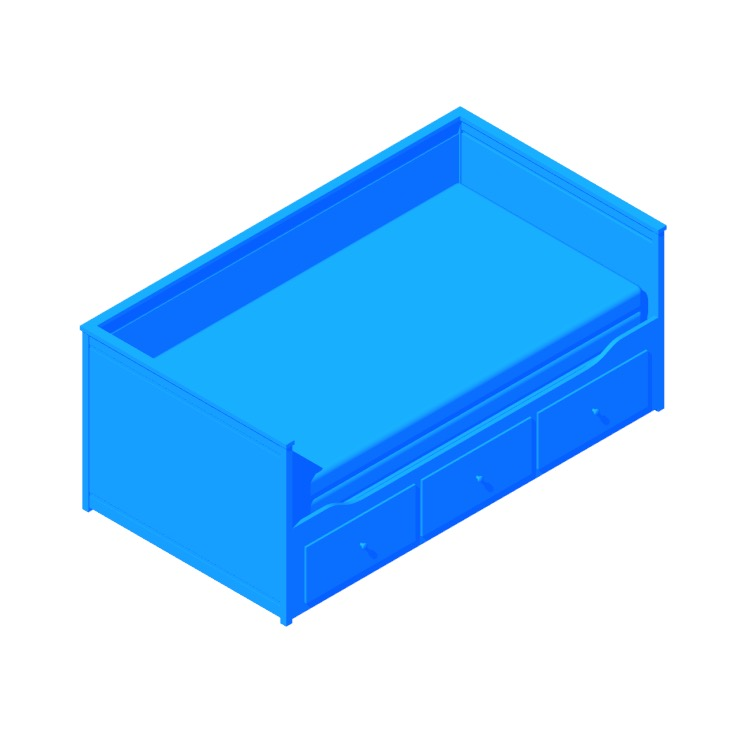 3D model of the IKEA Hemnes Daybed with 3 Drawers viewed in perspective