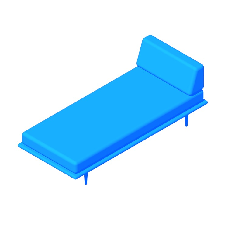 Perspective view of a 3D model of the Nelson Daybed with Side Bolster