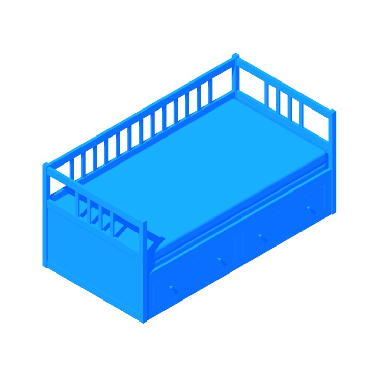 3D model of the IKEA Hemnes Daybed with 2 Drawers viewed in perspective