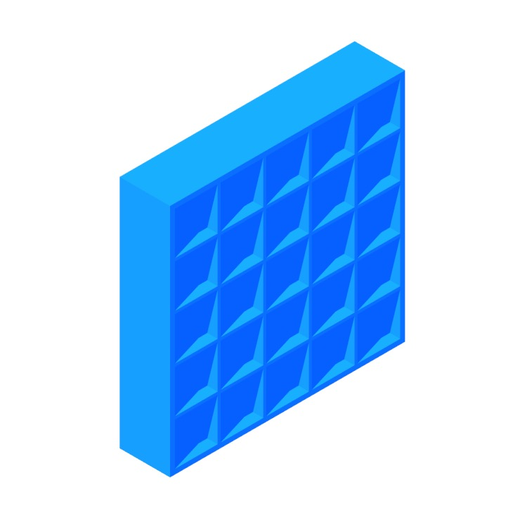 3D model of the IKEA Kallax Shelf Unit 5x5 viewed in perspective