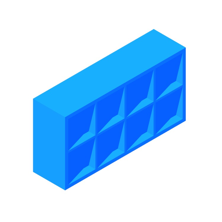 3D model of the IKEA Kallax Shelf Unit 4x2 viewed in perspective