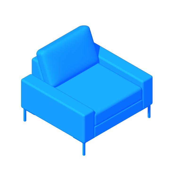 3D model of the Arena Armchair viewed in perspective