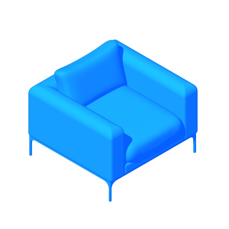 Perspective view of a 3D model of the Jonas Armchair