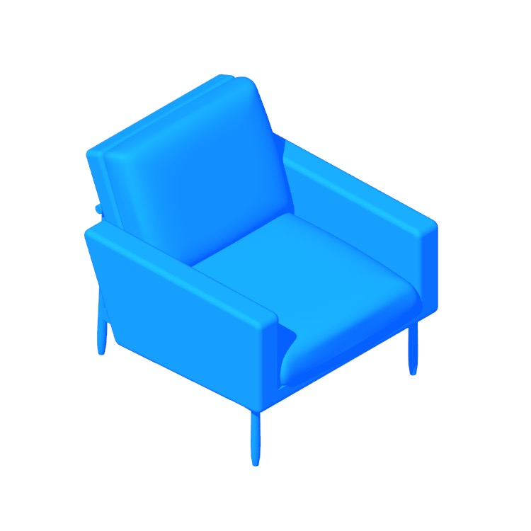 3D model of the Raleigh Armchair viewed in perspective