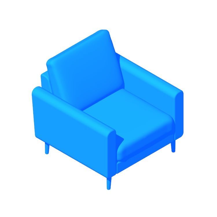3D model of the Burrow Nomad Armchair viewed in perspective