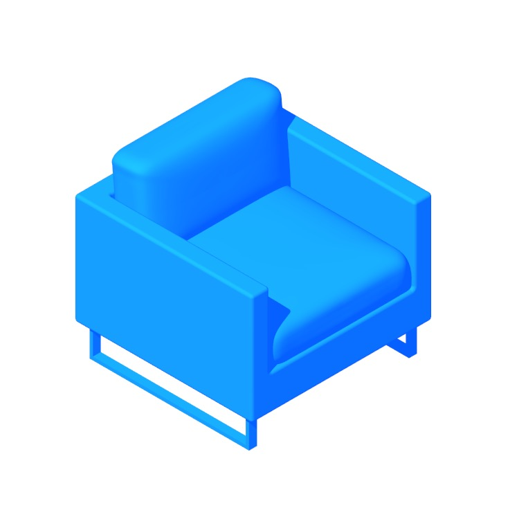 3D model of the Goodland Armchair viewed in perspective