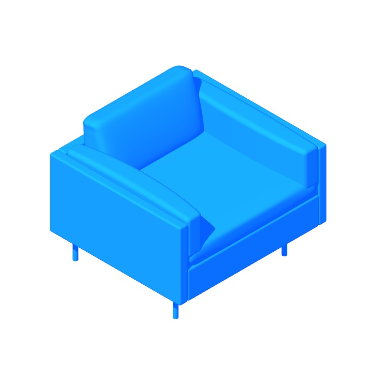 3D model of the Bolster Armchair viewed in perspective