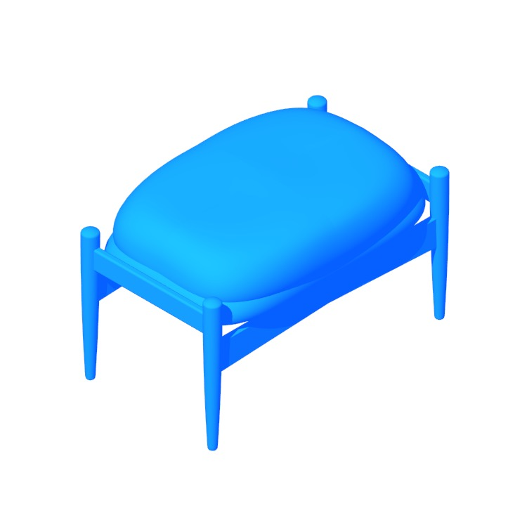 3D model of the Seal Footstool viewed in perspective
