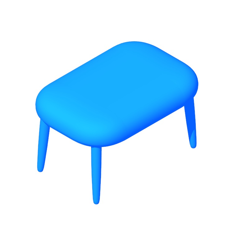 3D model of the Crosshatch Ottoman viewed in perspective