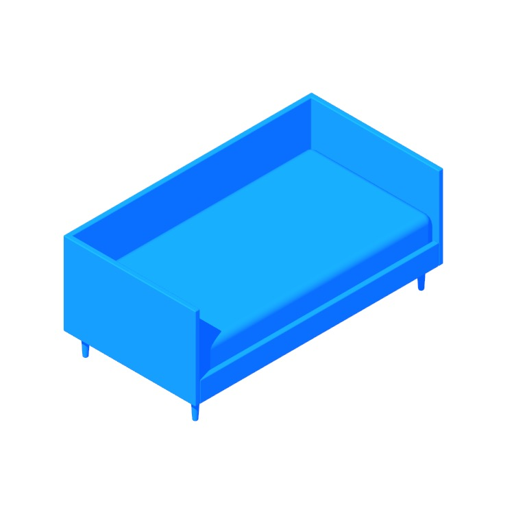 View of the Jude Mid Century Daybed in 3D available for download