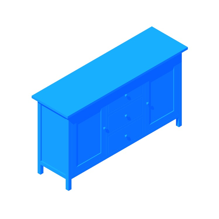 View of the IKEA Hemnes Sideboard in 3D available for download