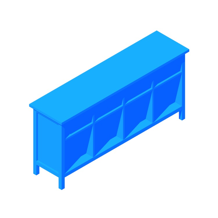 3D model of the IKEA Hemnes Console Table viewed in perspective