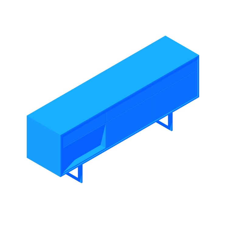 3D model of the Aura Credenza viewed in perspective