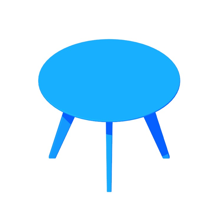 3D model of the Risom Round Table viewed in perspective